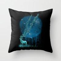 dna Throw Pillows featuring DNA Deer by Jorge Garza