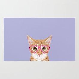 Mackenzie - Orange Tabby Cute Hipster Glasses Kitten Lavender Pastel Girly Retro Cat Art cell phone Rug