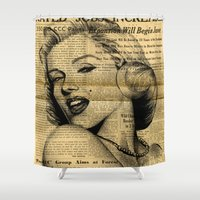 newspaper Shower Curtains featuring Marilyn newspaper by Teo Designs