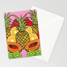 Pink Tropical Fruit Stationery Cards