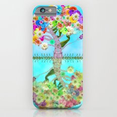 Cute Whimsical Bright Floral Tree Collage Teal Sky iPhone 6 Slim Case