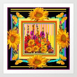 Victorian Style Hollyhock Sunflowers Butterflies Black Art Art Print