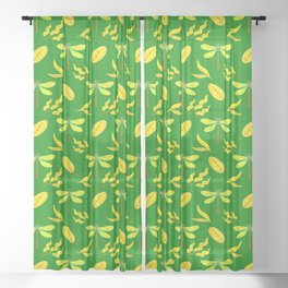 Pretty beautiful golden yellow dragonflies, leaves elegant stylish green nature spring pattern Sheer Curtain
