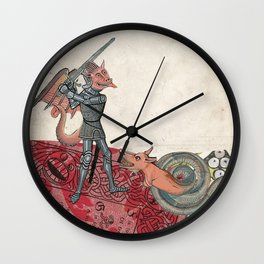 Ancient battle (collage) Wall Clock