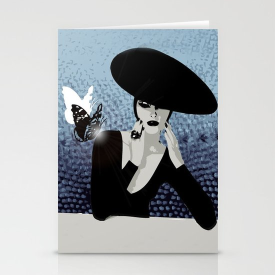 butterfly and woman Stationery Cards
