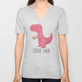 Coffee-saur | Pink Unisex V-Neck