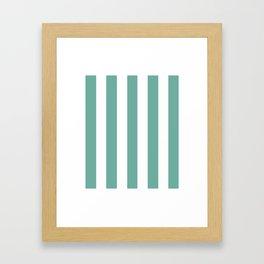 Green Sheen blue - solid color - white vertical lines pattern Framed Art Print