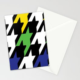 Jumbo Scale Masculine Colored Houndstooth Pattern Stationery Cards