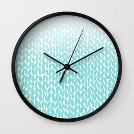 Hand Knitted Ombre Teal Wall Clock