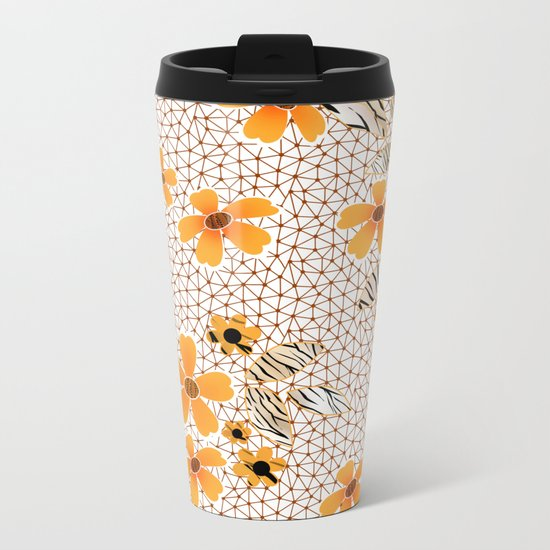 The floral pattern on the grid . Metal Travel Mug