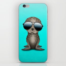 Cute Baby Sea Lion Wearing Sunglasses iPhone Skin