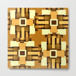 Gold Beige Pipe System,Streampunk Metal Print