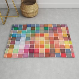 Colorful Pastel Squares Pattern Rug