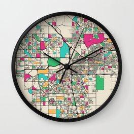 Colorful City Maps: Bakersfield, California Wall Clock