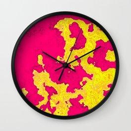 Map fuchsia and yellow Wall Clock