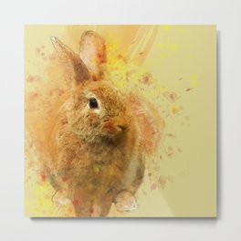 Lovely Easter Bunny Watercolor Metal Print