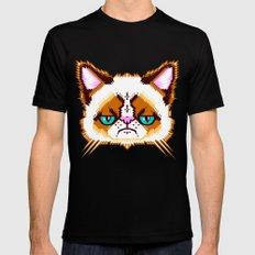 Grumpy Cat Geometric Pattern MEDIUM Mens Fitted Tee Black