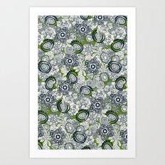 succulents green indigo Art Print