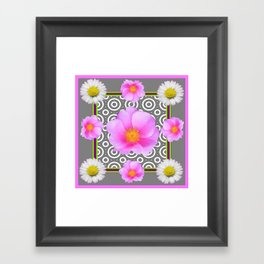 Modern Art Style Shasta Daisy Pink Roses  Grey color Abstract art Framed Art Print