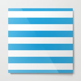 Oktoberfest Bavarian Blue and White Large Cabana Stripes Metal Print