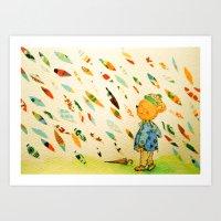 A Little Bear On A Rainy Day Art Print