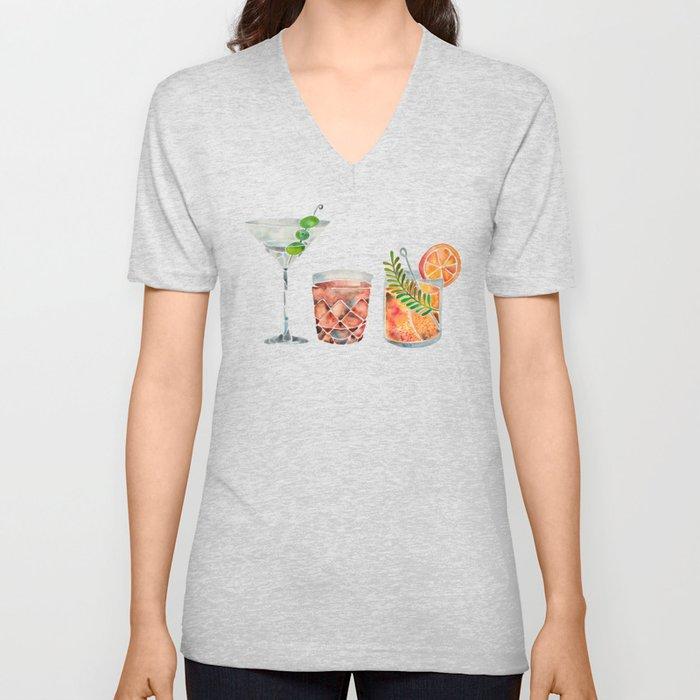 Classic Cocktails  – 1960s Watercolor Lineup Unisex V-Ausschnitt