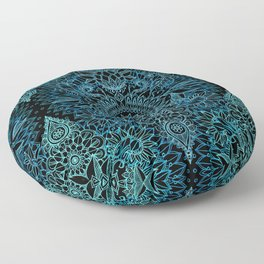 Black & Aqua Protea Doodle Pattern Floor Pillow