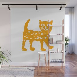 Orange cat illustration, cat pattern Wall Mural