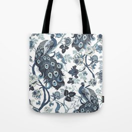 Blue Chinoiserie, peacocks, blue and white, chintz pattern Tote Bag