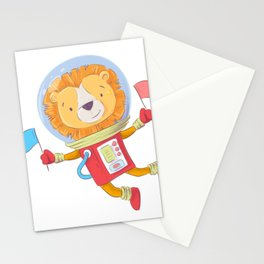 Space Lion Astronaut Stationery Cards