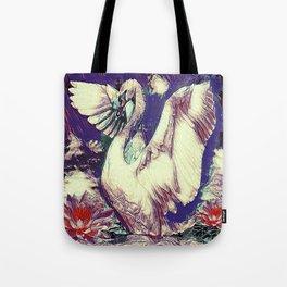 WHITE SWAN  PURPLE &  PINKISH  MODERN  WATER DESIGN Tote Bag