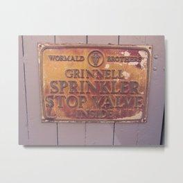 Sprinkler Stop Valve Sign Metal Print