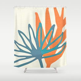 Mid Century Nature Print / Teal and Orange Shower Curtain