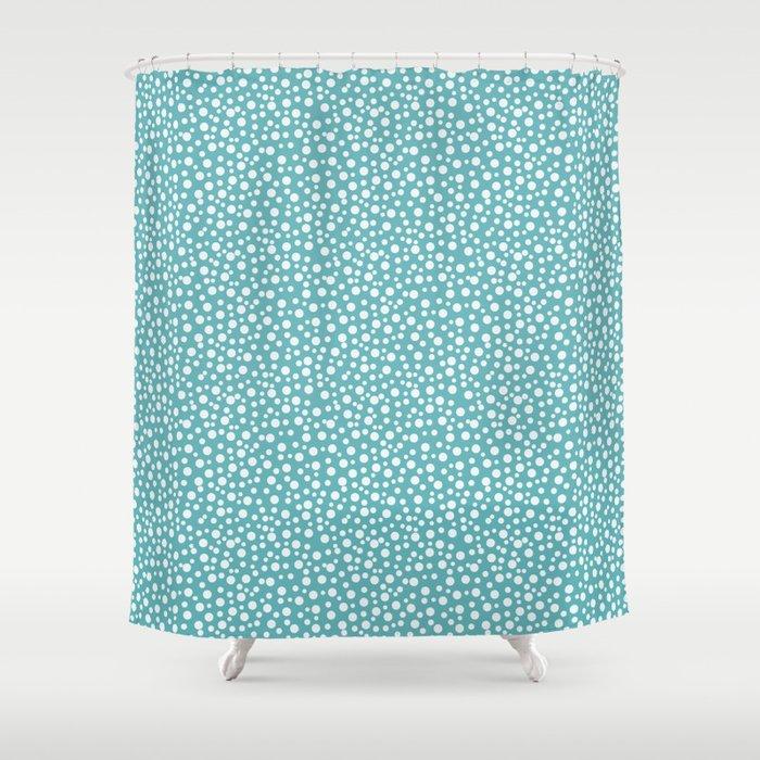 Aqua White Confetti Shower Curtain By Joacreations