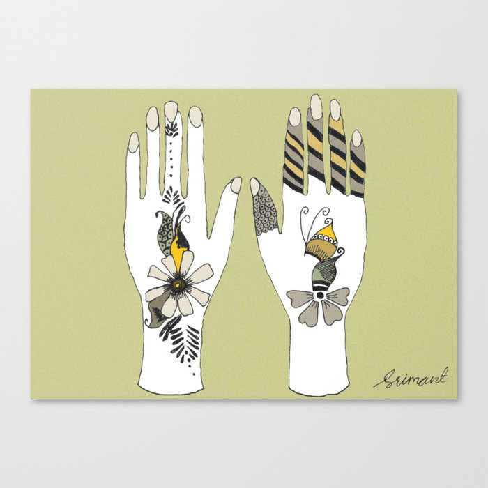 Mehndi Hands by Shrimant Canvas Print by houseofimagination | Society6