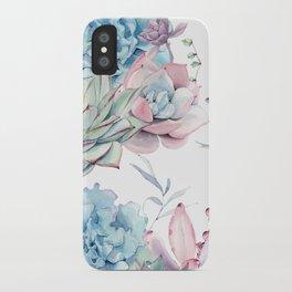 Pretty Pastel Succulents Garden 1 iPhone Case