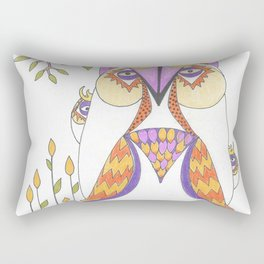Whimsical Mama Owl and Baby Owls Rectangular Pillow