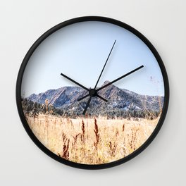 Flatirons Boulder // Colorado Field Wild Grass Green Mountains Blue Skies Wall Clock