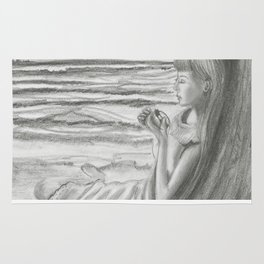 A Cool, Quieting Thought (Girl by tree on the beach) Rug
