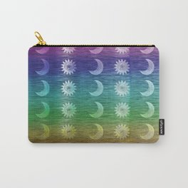 Rainbow Sun and Moon Celestial Hippie Pattern Carry-All Pouch