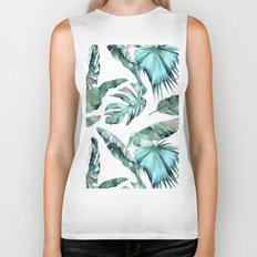 Tropical Palm Leaves Blue Green on White Biker Tank