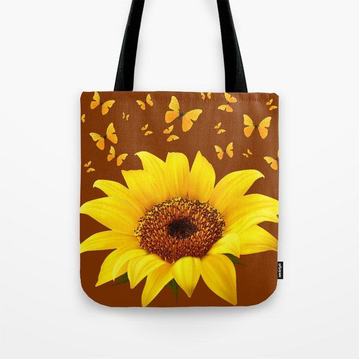 Coffee Brown Yellow Sunflower Erflies Tote Bag By Sharlesart