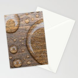 Water Drops on Wood 3 Stationery Cards