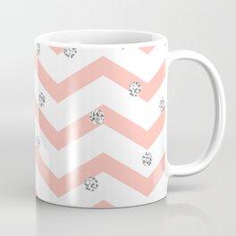 Geometrical coral white silver glitter polka dots Coffee Mug