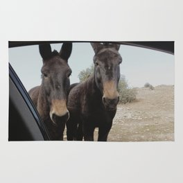 """""""Two donkeys at the mountains"""""""" Rug"""