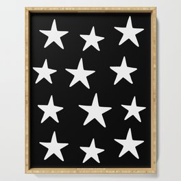 Star Pattern White On Black Serving Tray