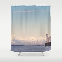 Miramar Castle with Italian Alps in background. Trieste Italy Shower Curtain