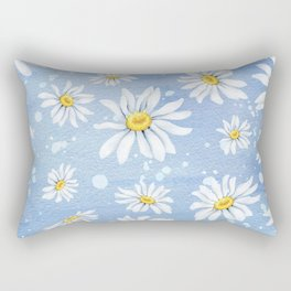 Spring Daisies On Sky Blue Watercolour Rectangular Pillow