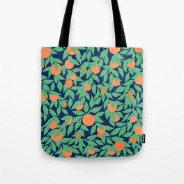 Oranges and Leaves Pattern - Navy Blue Tote Bag