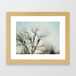 a heart has been carved Framed Art Print